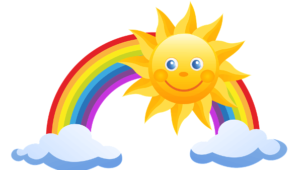 Cartoon sun, rainbow, and clouds.